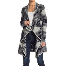 NEW LUCKY BRAND GRAY AZTEC DRAPE FRONT SWEATER COAT JACKET CARDIGAN WOME... - $55.44