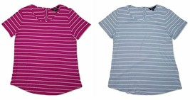 Ellen Tracy Women's Zipper Back Striped Top Blouse - $9.99