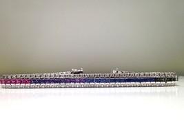 8.00 Carat Rainbow Sapphire Bracelet in 925 Sterling Silver  WATCH VIDEO