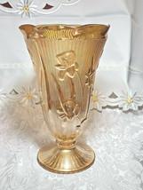 "Vintage Jeanette Glass Marigold 9"" Vase Iris Herringbone Pattern"