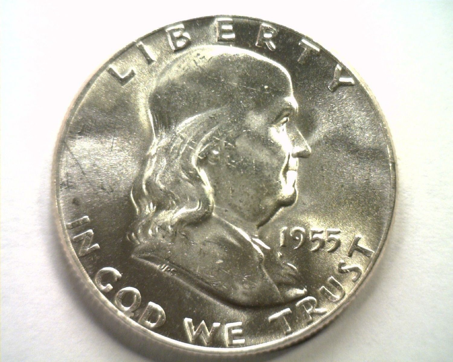 Primary image for 1955 FRANKLIN HALF DOLLAR CHOICE UNCIRCULATED+ WHITE CH. UNC+ NICE ORIGINAL COIN