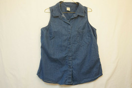 8cb98578c8b70 Faded Glory Midweight Sleeveless Denim Button-Front Shirt Top
