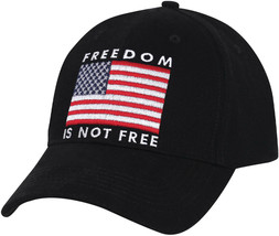 Black Freedom Is Not Free USA Flag Low Profile Hap Embroidered Dad Cap - $10.99