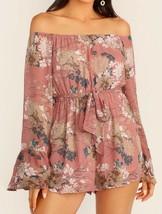 Off The Shoulder Flounce Sleeve Long Sleeve Belted Floral Print Romper J... - $49.99