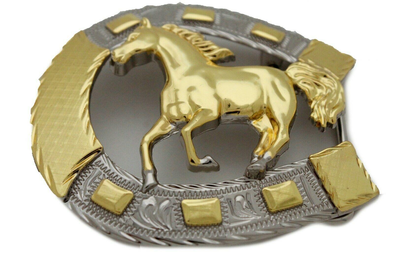 Hombre Western Cowboys Cinturón Hebilla Metal Plateado Caballo Rodeo Detalle image 7