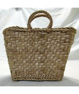 Woven Straw Basket Small Purse Made in Poland Red White Polka Dot Lining - $26.39