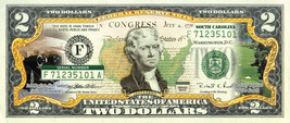 SOUTH CAROLINA State/Park COLORIZED Legal Tender US $2 Bill w/Security F... - $14.80
