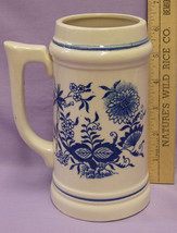 Vintage Tan Stein with a Blue Flowered Design Made in Japan - $8.86