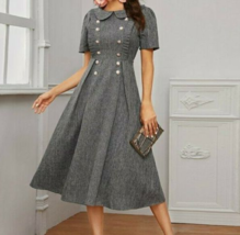Linen Look Peter Pan Collar Puff Sleeve Frill Trim A-Line Fit & Flare Lo... - $57.59