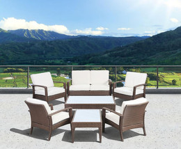 Santorini Deluxe 7 Piece Brown Synthetic Wicker Patio Seating Set With - $1,609.69