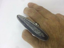 Vintage Silver Genuine Grey Black Fossil Ring - $94.05
