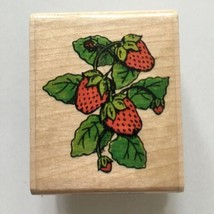 Strawberries Rubber Stamp Affair Spring Fruit Market Stall Strawberry Wo... - $2.48