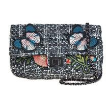 Cristina Sabatini Black Chloe Crossbody Flying Butterfly and Flower Handbag - $153.45