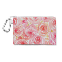 Watercolor Roses Canvas Zip Pouch - $14.99+