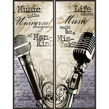 Music Wall Art Set 2 Piece Home Office Den Framed Picture Prints Plaque ... - $47.29
