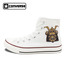 Ancient Warrior Knight Mask Original Design White Canvas Shoes Unisex Co... - $119.00