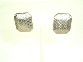 Vintage Clip Earrings Patent Pending Silver Tone Metal Mod Deco textured - $7.87