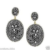 14k Gold 14.56ct Natural Diamond Pave Dangle Earrings 925 Silver Fashion Jewelry - £1,210.48 GBP