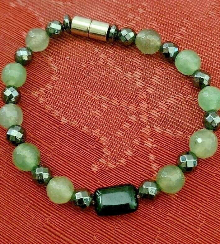 "Hematite & Agate Bracelet Magnetic Hematite Clasp Single Strand 7"" MAG-036"