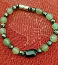 "Hematite & Agate Bracelet Magnetic Hematite Clasp Single Strand 7"" MAG-036 image 1"