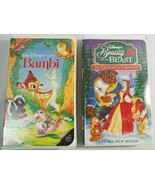Disney Classic Bambi and Beauty + The Beast The Enhanted Christmas VHS P... - $12.86