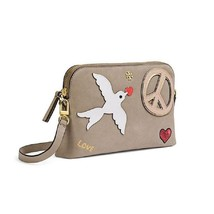 Tory Burch  Peace French Gray Suede Cross Body Bag  - $159.00