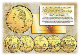 2003 US Statehood Quarters 24K GOLD PLATED ** 5-Coin Complete Set ** w/C... - $9.85