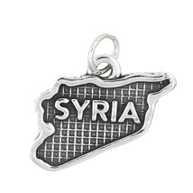 Sterling Silver Textured Country Map of Syria Charm - $15.88
