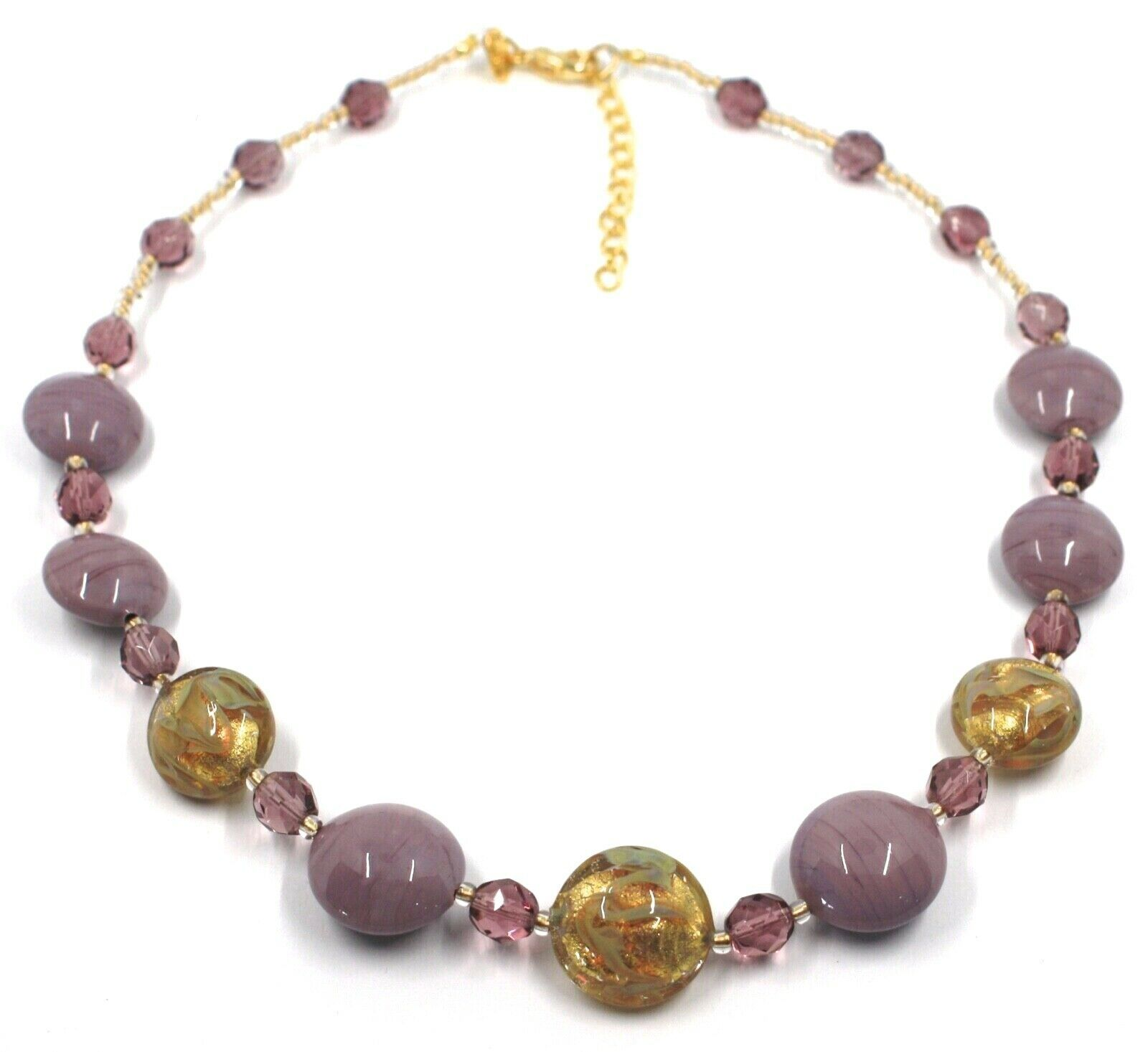 """NECKLACE PURPLE YELLOW MURANO GLASS DISC & GOLD LEAF, MADE IN ITALY, 50cm, 20"""""""