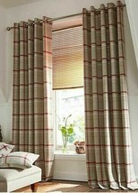 Woven Check Red Beige White Lined Anneau Top Curtains 8 Sizes - $50.56+