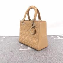 Authentic Christian Dior Lady Dior Medium Beige Patent Shoulder Tote Bag GHW image 4