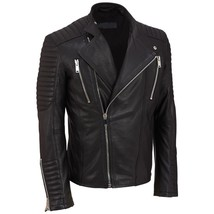 Mens Black Genuine Handmade Real Bespoke Cowhide  Black Genuine Leather Jacket - $118.79+