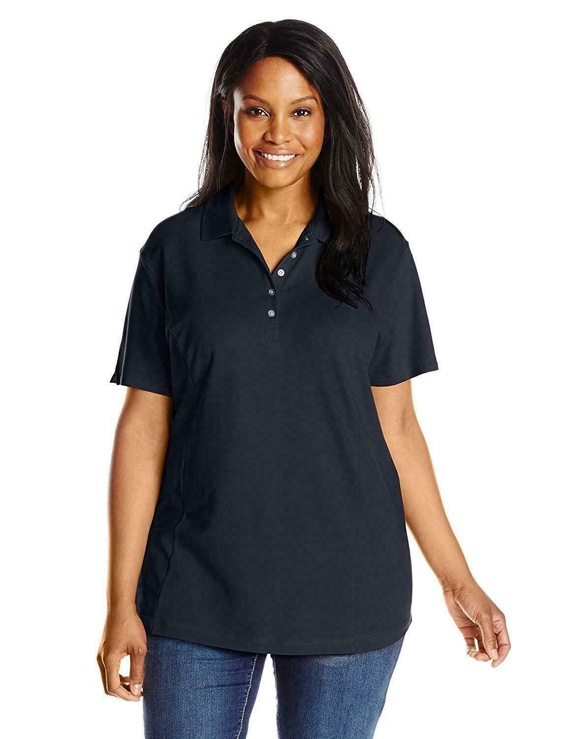 Primary image for Riders by Lee Indigo Women's Plus-Size Morgan Short Sleeve Dark Navy Blue 2X NEW