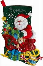 Bucilla Felt Stocking Kit, Santa's Sleigh, 18in embroidery XMAS, Christmas  - $28.49