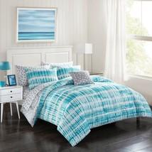 College Dorm Teen Bed in Bag full Aqua Tye Dye Sheets Pillows  - $56.99