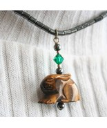 Carved Tiger's Eye & Hematite Bunny Rabbit Necklace - $24.95