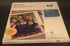 * HP Premium Glossy Photo Paper 8.5 x 11 In. 15 Sheets C6039A - $9.60