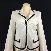NEW Talbots 16 XL Blazer Off White Navy Blue Stripe 3 Pocket Gold Button Jacket - $79.95