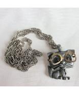 1960s Vintage HMS Cat w/ EyeGlasses Pendant Pewter Blue Gripoix Glass Eyes  - $18.00