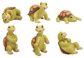 Nautical Miniature Baby Sea Turtles Figurine Set of 6 Whimsical Turtle D... - £25.45 GBP