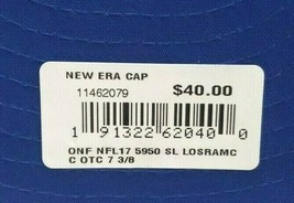 New Era Los Angeles Rams 5950 On Field 2017 Sideline Fitted Hat Blue Size 7 3/8 image 2