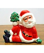 Vintage Santa Claus with Christmas Tree Japan Ceramic Figurine VG Condit... - $14.84