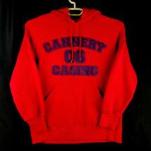FOL Heavy Flannel Long Sleeve Hooded Sweatshirt - M - Red - Cannery Casino Logo - $16.46