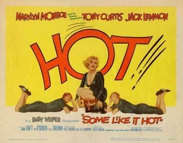SOME LIKE IT HOT MOVIE POSTER 27X40 MARILYN MONROE HOT 69X101 CM RARE - $34.99