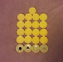 CONNECT 4 Game Replacement pieces 21 YELLOW CHECKERS w/ POWER CHECKERS 2009 - $8.59