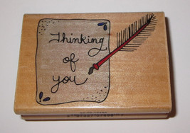 Thinking of You Rubber Stamp Paper Quill Pen Message Wood Mounted - $3.95