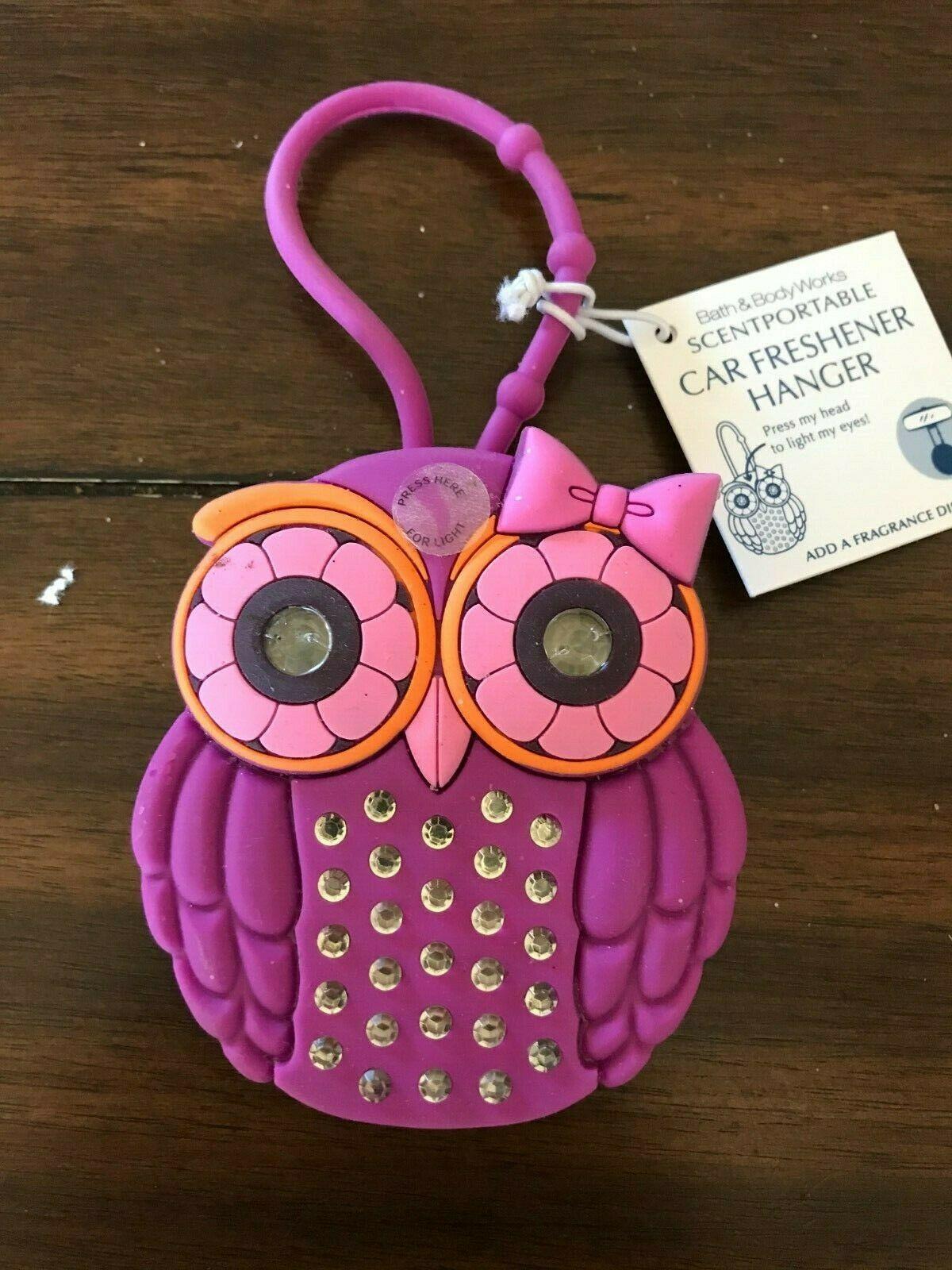 Bath & Body Works Scentportable Car Freshener Hanger Pink Owl with Light up Eyes - $30.00