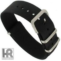 Hadley Roma 18mm Black Nylon Watch Band Military Style SHIPSFREE - $12.13