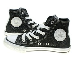 Converse All Stars Chuck Taylors Girls Black Silver Metallic Sneakers Yo... - $24.74