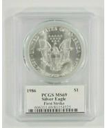1986 Argento American Eagle Selezionato Da PCGS Come MS69 Primo Strike M... - $3,270.17